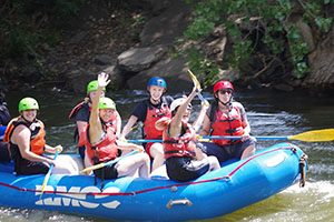 Counselor education students rafting