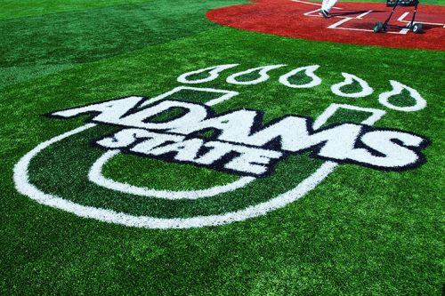 Athletics logo on the baseball field
