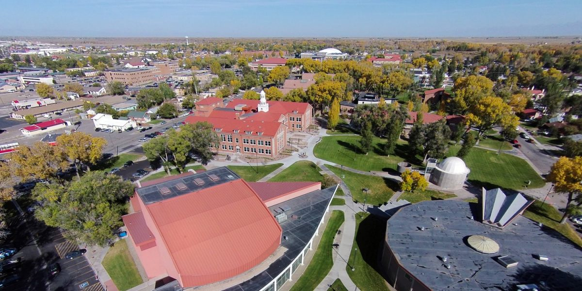 Adams State University campus with Art Building, Theatre building and Richardson Hall