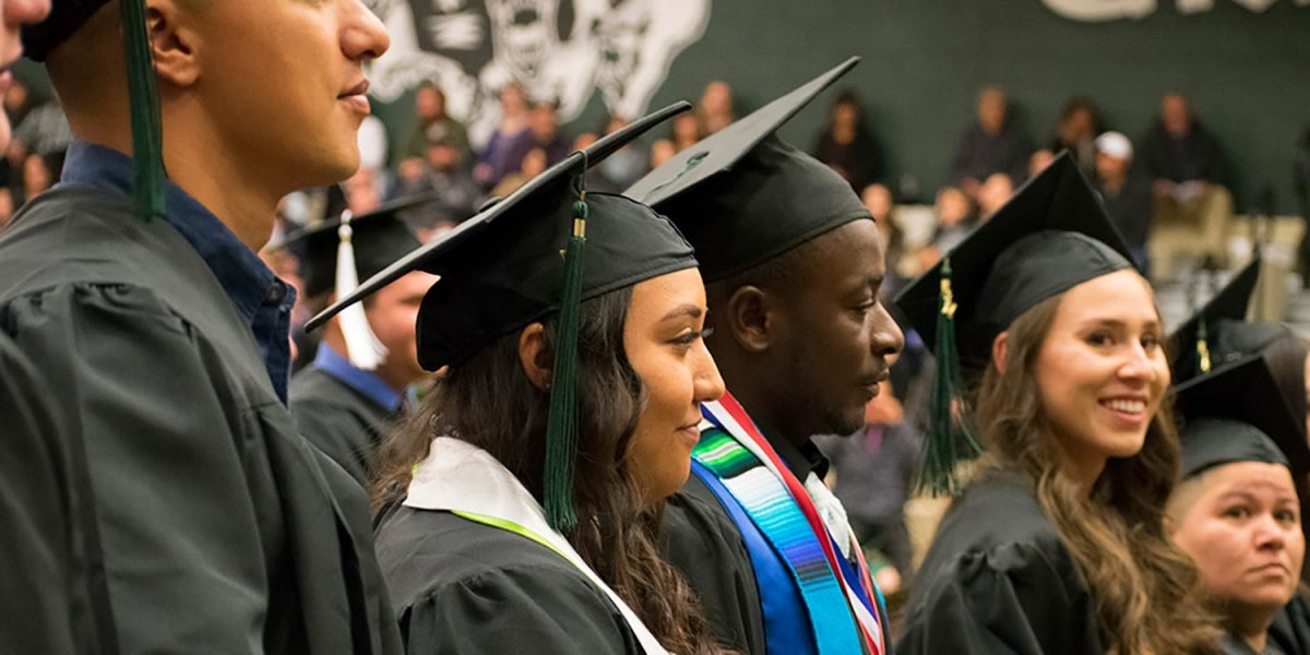 students in graduation attire at 2017 Fall Commencement