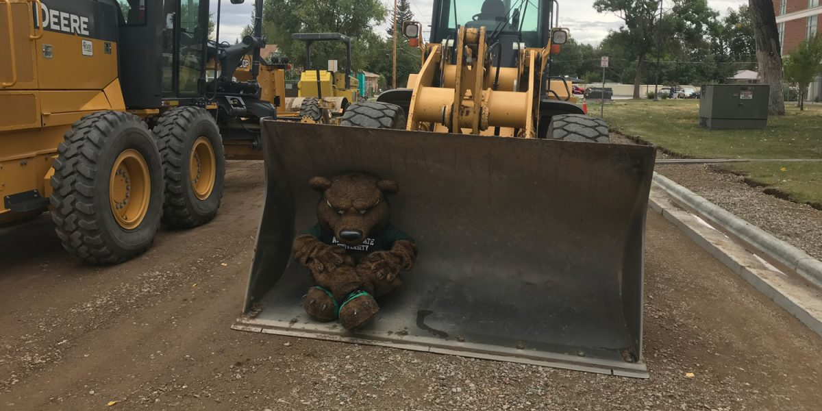 Boomer the mascot inside of a loader bucket