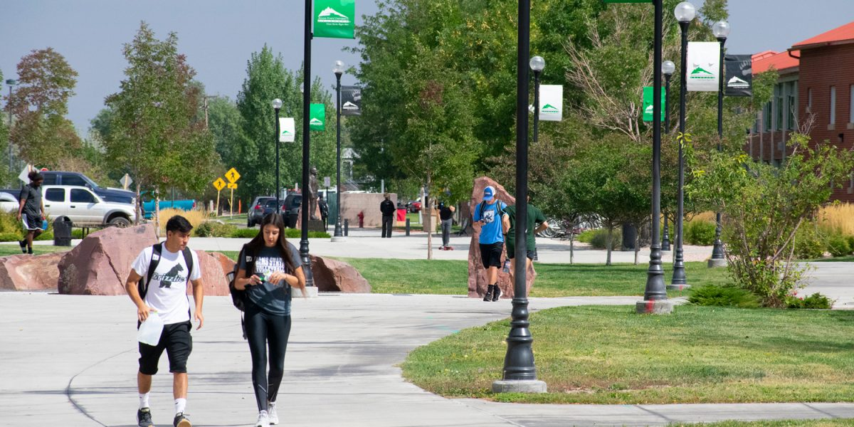 Students walking outside of the rex.