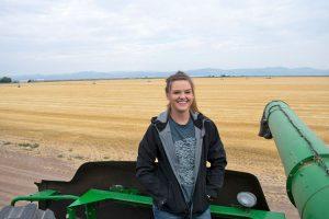 Brook Mitchell on a farm.