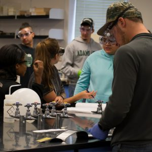 Adams State students in chemistry lab