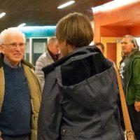 Cloyde Snook visits with Kay O. Watkins and Sharon McCoy