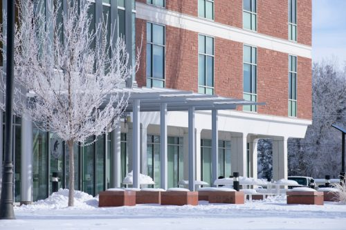McDaniel Hall covered in snow.