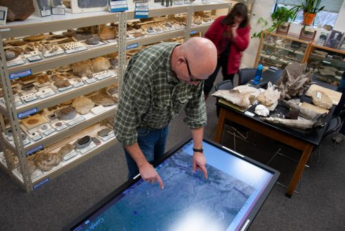Dr. Rob Benson working in the Ryan Geology Museum