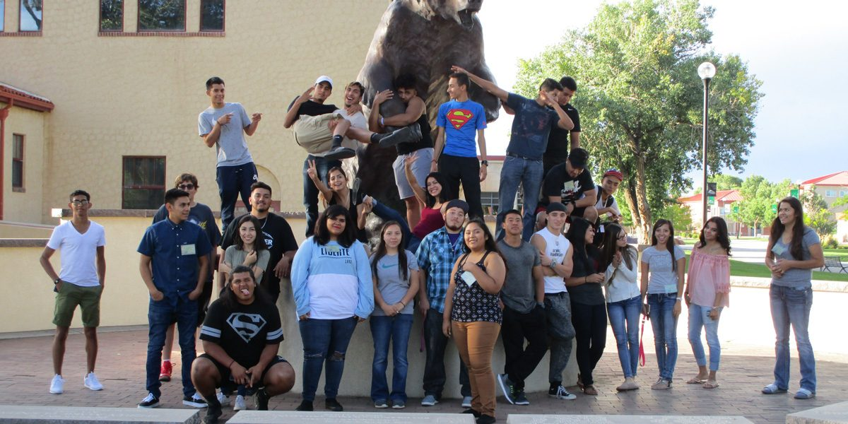 CAMP students in front of the Old Mose statue