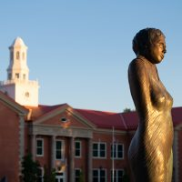 """""""Cocoon"""" sculpture and Richardson Hall in background"""