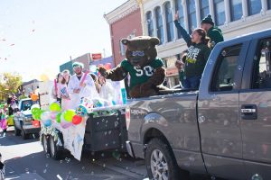 Student float along with the Adams State mascot Boomer in the Homecoming parade