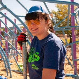 Student working on playground