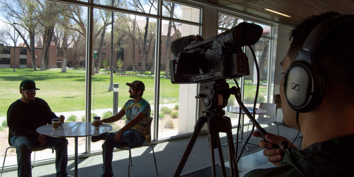 Public Relations Student interviewing