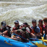 Teen Outdoor Stewardship campers enjoy whitewater rafting with Mountain Man/8200 Sports on the Rio Grande River