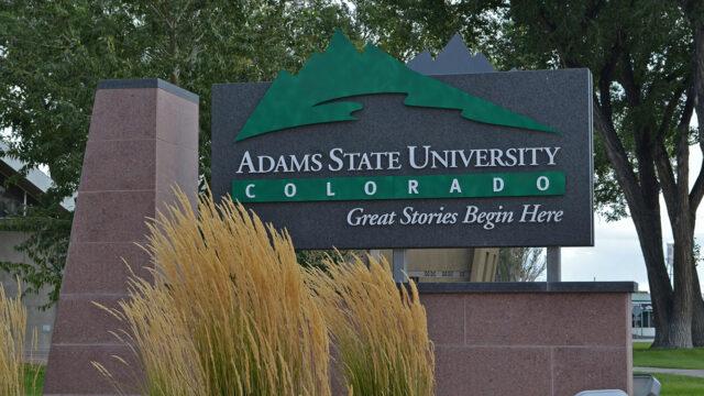 Adams State University sign