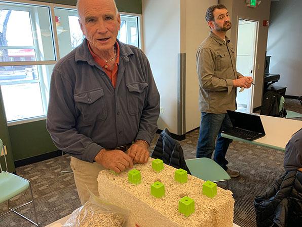 Jim Milski with hemp building block