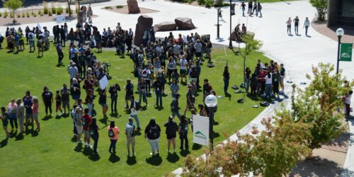 Adams State New Student orientation at the campus green