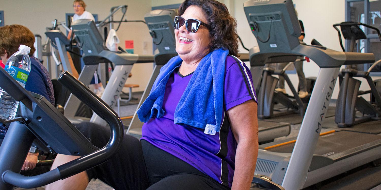 Cancer survivor Bea Martinez exercising at Alamosa Recreational Center