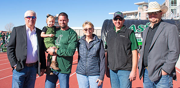 Roger Mix, Jake Burris, Adams State President Cheryl D. Lovell, Sheldon Rockey and Jason Tillman