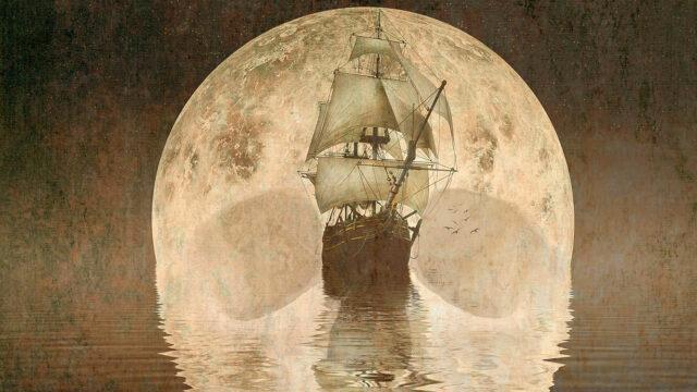 Treasure Island image with ship and moon
