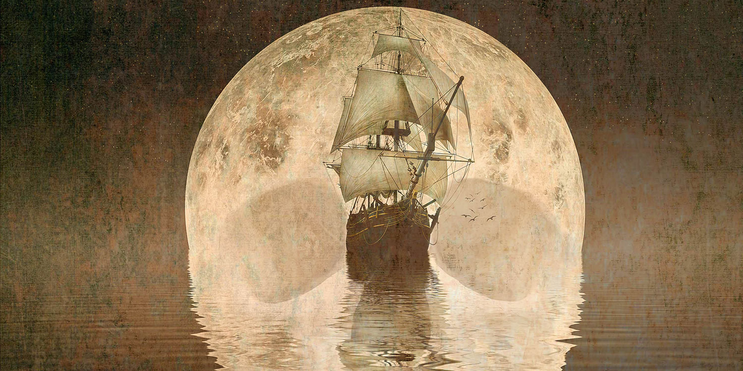 Treasure Island image with ship and moon