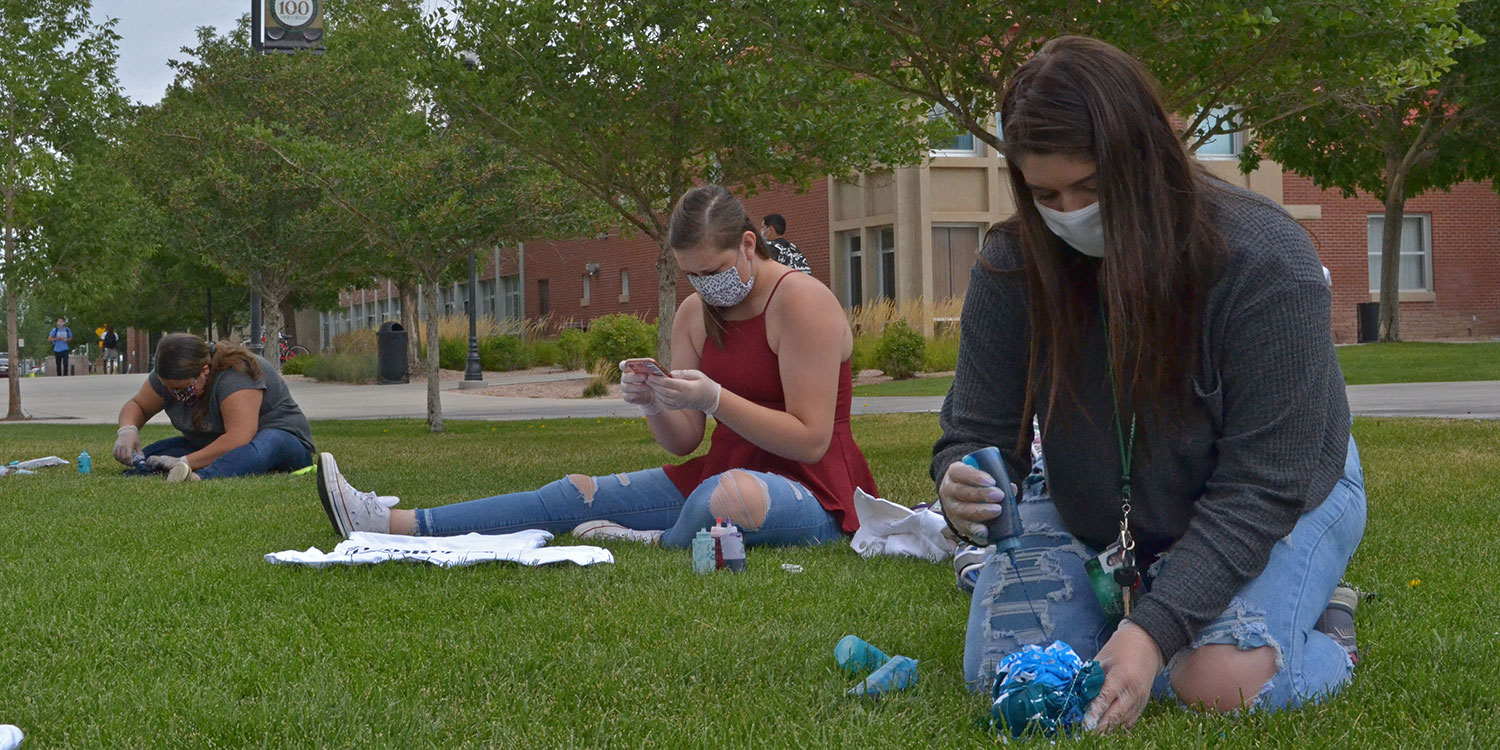 Photo by Jade Winton students safely create their own tie dye shirts