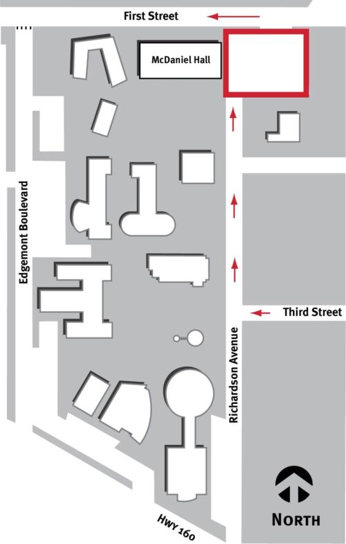 testing located in McDaniel Hall parking lot, arrows directing traffic from Third St. onto Richardson Ave then onto First St.