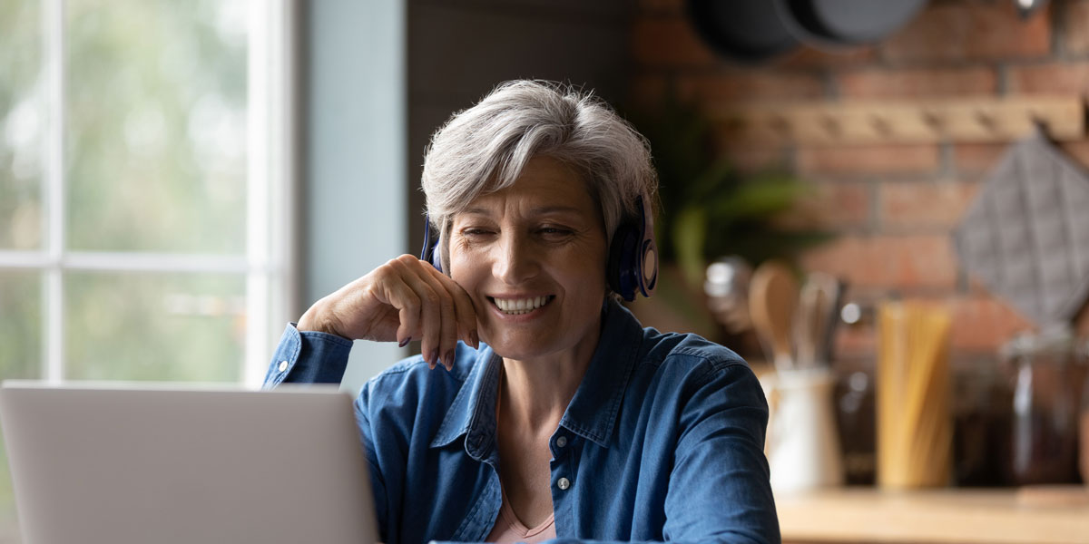 Woman over 50 on computer